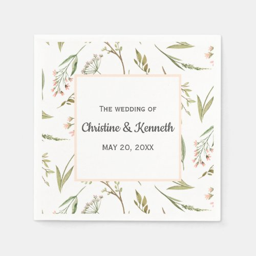 Pink delicate meadow flowers personalized wedding napkin