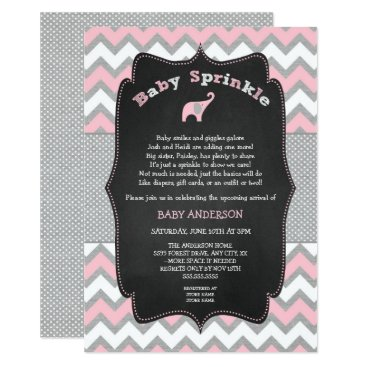 Pink elephant baby sprinkle, baby shower invitation