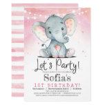 ❤️ Pink Elephant Girl Birthday Party Invitation