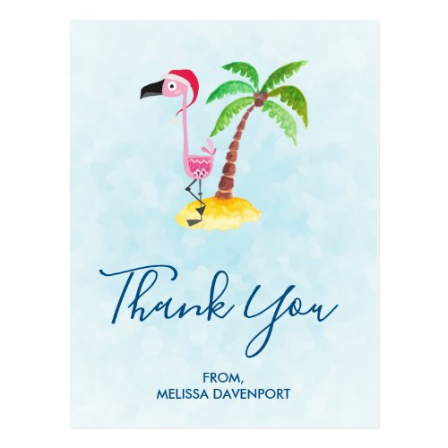 Pink Flamingo in Red Santa Hat Christmas Thank You Postcard