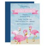 Pink Flamingo Sunday Brunch Party Invitation