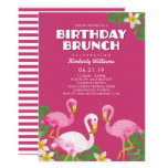 ❤️ Pink Flamingos Birthday Brunch Fuchsia Invitation