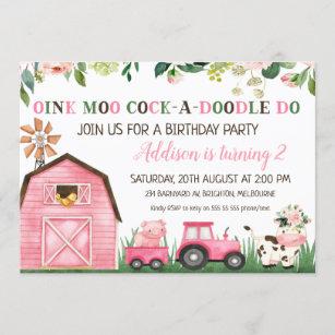 farm animal birthday invitations zazzle