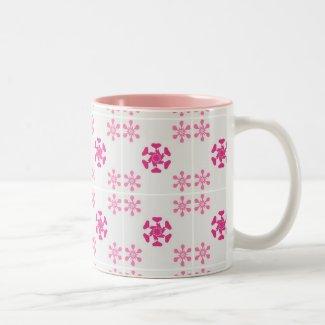 Pink floral pattern mugs