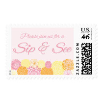 Pink Floral Sip and See New Baby Party Postage Stamp