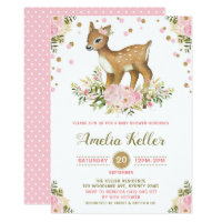Pink Floral Woodland Deer Baby Shower Invitation