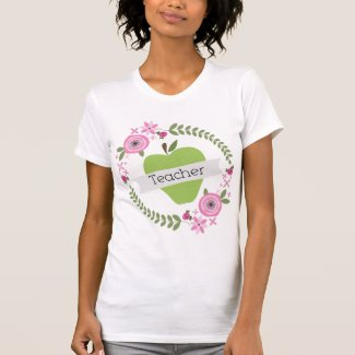 Pink Floral Wreath & Green Apple w Banner Teacher Shirts
