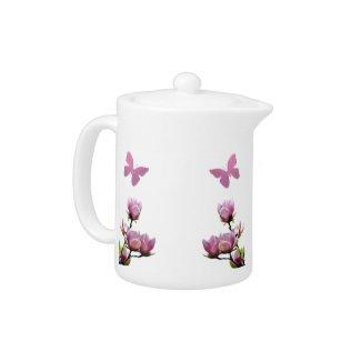 Pink Flowers and Butterflies Tea Pot teapot