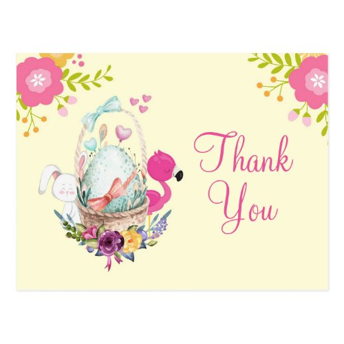 Pink Flowers, Egg, Flamingo & Bunny Party Thanks Postcard