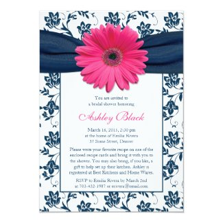 Pink Gerber Navy Damask Bridal Shower Invitation