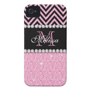 PINK GLITTER BLACK CHEVRON MONOGRAMMED iPhone 4 Case-Mate CASE