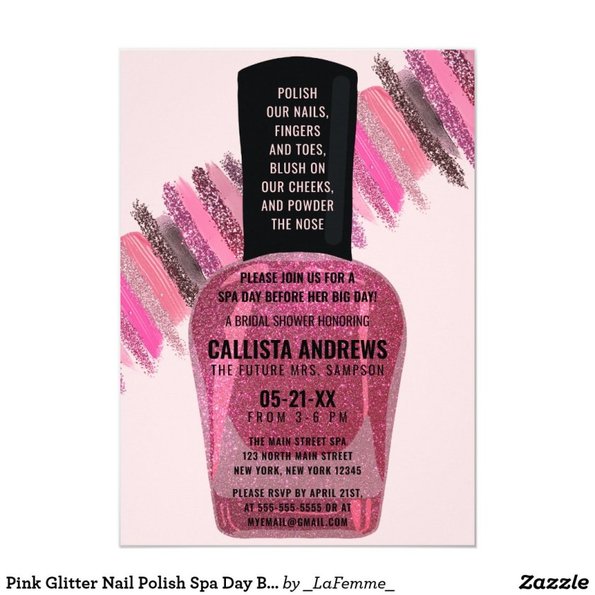 Pink Glitter Nail Polish Spa Day Bridal Shower Invitation