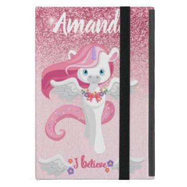 Pink Glitter Personalize Unicorn iPad Case Custom