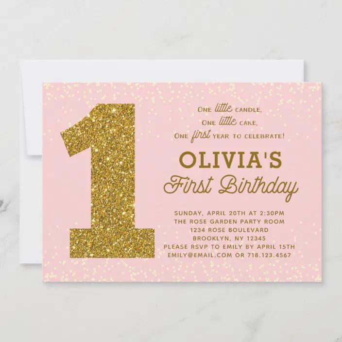 Pink Gold 1st Birthday Invitation 1 Little Candle Zazzle Com