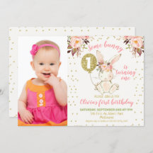 some bunny is turning one invitations