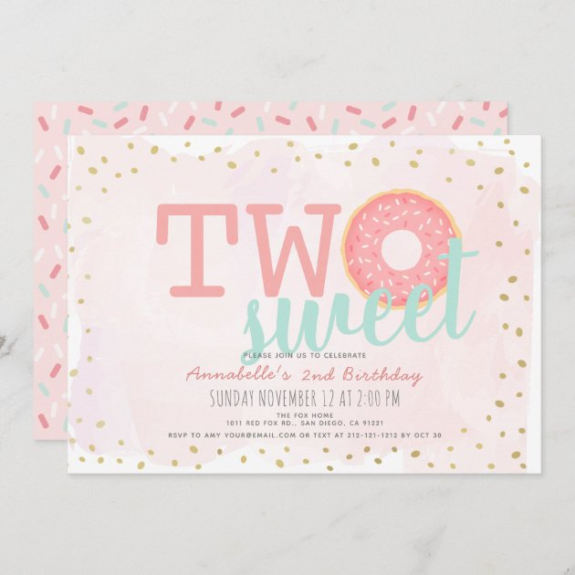 pink gold donut two sweet girl 2nd birthday invitation zazzle com