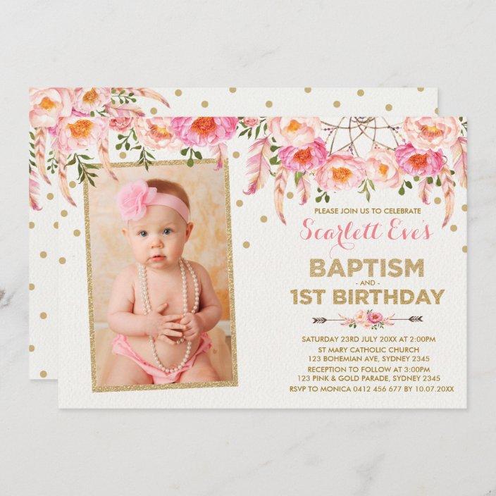 pink gold dreamcatcher baptism 1st birthday party invitation zazzle com