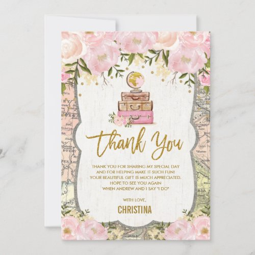 Pink Gold Floral Travel Map Bridal Shower Thank You Card