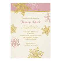 Pink Gold Ivory Snowflake Winter Bridal Shower Invitations