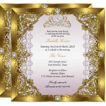 Pink Gold Pearl Lace Tiara Damask Birthday Party Card