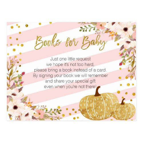 Pink Gold Pumpkin Books for Baby Postcard