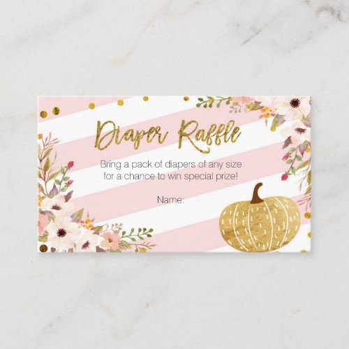 Pink Gold Pumpkin - Diaper Raffle Card