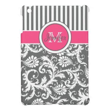 Pink, Gray, White Striped Damask iPad Mini Case