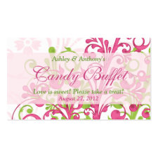 Pink Green Floral Wedding Candy Buffet Gift Cards profilecard