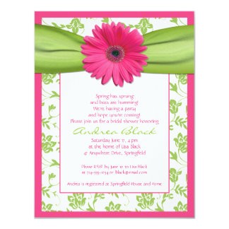Invitation Green Pink Rose Simple Wedding