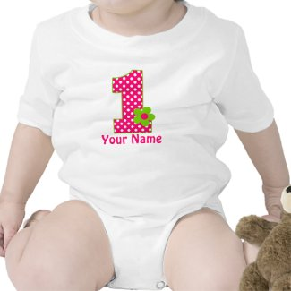 Pink Green Girls Personalized 1st BIrthday Shirt