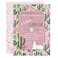 Pink | Green Llama Love Cactus Girl Baby Shower Card