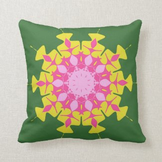 Pink green mandala throw pillows