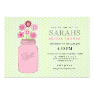 Pink + Green Mason Jar Flowers Bridal Shower Party Custom Invitations