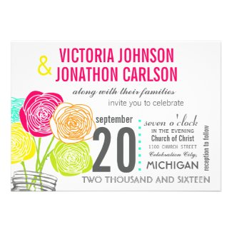 Pink Green Yellow Photo Floral ModernTypography Custom Announcement