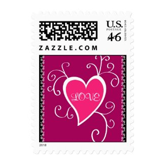 Pink heart design - Postage stamp