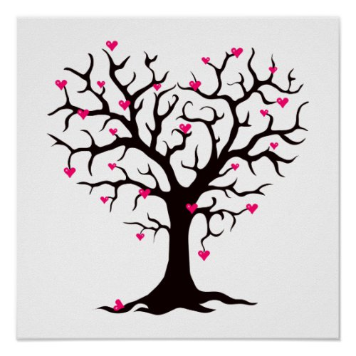 Pink Heart Tree Silhouette Poster