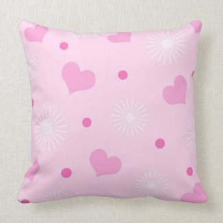 Pink hearts throwpillow