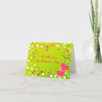 Pink hearts and stars - Card card