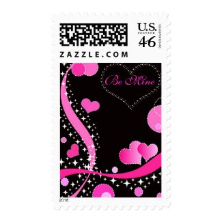 Pink hearts - Postage stamp