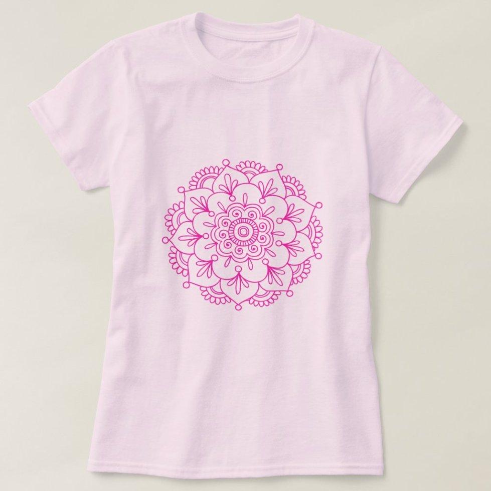 Pink Henna Lotus Flower Mandala T-Shirt