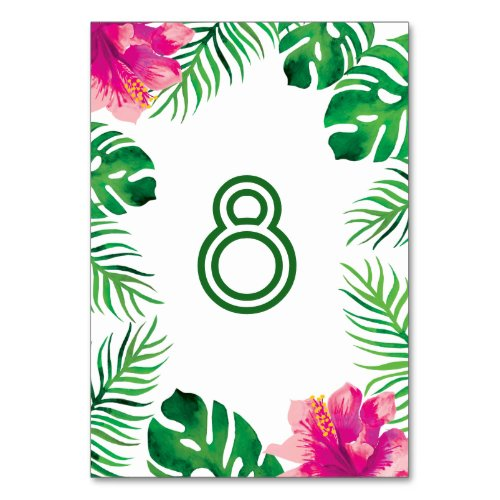 Pink Hibiscus and Tropical Leaves Table Number