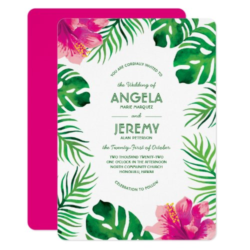 Pink Hibiscus and Tropical Leaves Wedding 2 Invitation