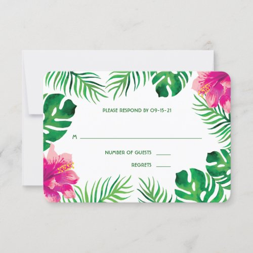 Pink Hibiscus and Tropical Leaves Wedding 2 RSVP Card