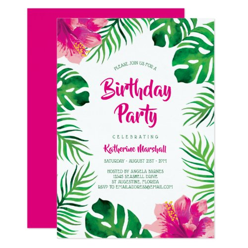 Pink Hibiscus Tropical Leaves Birthday Party Invitation