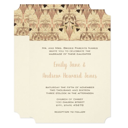 Pink Hummingbird Art Deco Wedding Invitation