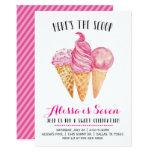Pink Ice Cream Birthday Invitation