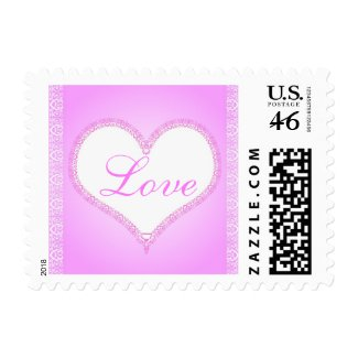Pink lace heart stamp