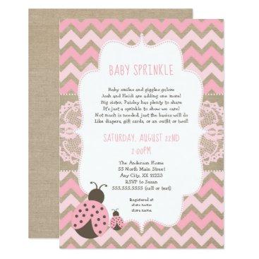 Pink Ladybug Baby Sprinkle, girl baby shower Card