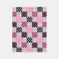 Pink Ladybug Polka Dots Baby Girl Quilt Blocks Fleece Blanket