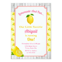 Pink Lemonade Birthday Invitation, Lemonade Party Card